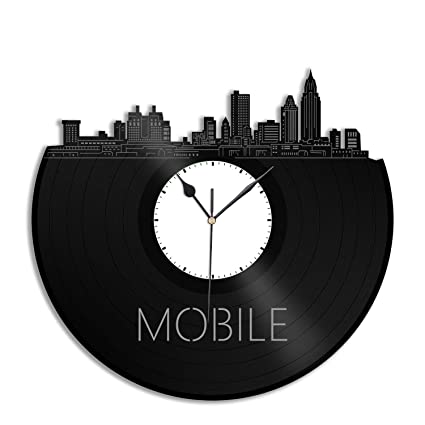 Amazoncom Vinylshopus Mobile Alabama Vinyl Wall Clock City