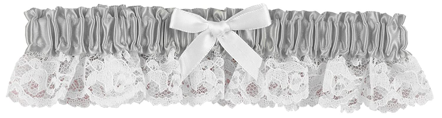Hortense B. Hewitt Wedding Accessories Ribbon and Lace Garter, Platinum Sourced Wit 73051