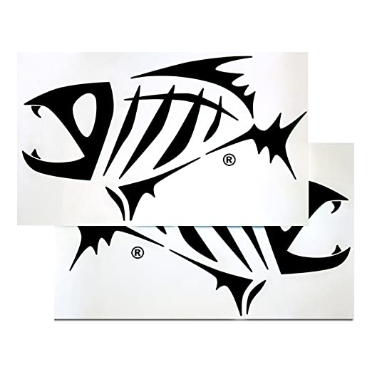 Amazoncom G Loomis Black Skeleton Fish Boat Decal Set - Boat stickers and decals