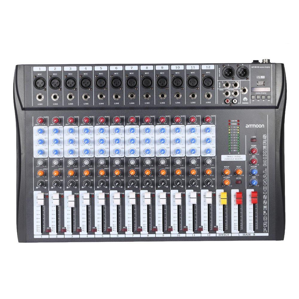 ammoon 60S-USB 6 Channels Mic Audio Mixer Mixing Console 3-band EQ USB XLR Input 48V Phantom Power with Power Adapter BHBUKPPAZINH1969
