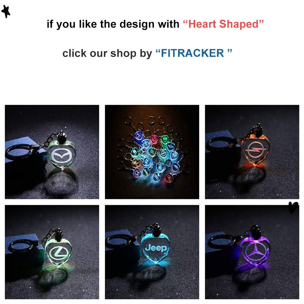 Fitracker LED Ford Keychain Crystal Light Changing Car Key Chain Accessories with Gift Box