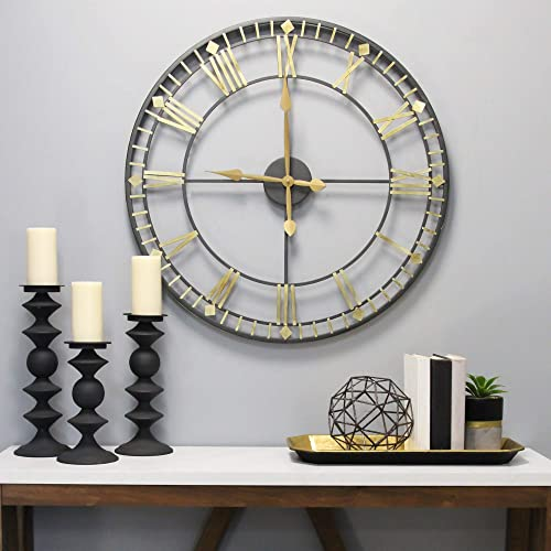 Stratton Home D cor Stratton Home Decor Oversized 31.50″ Industrial Austin Wall Clock
