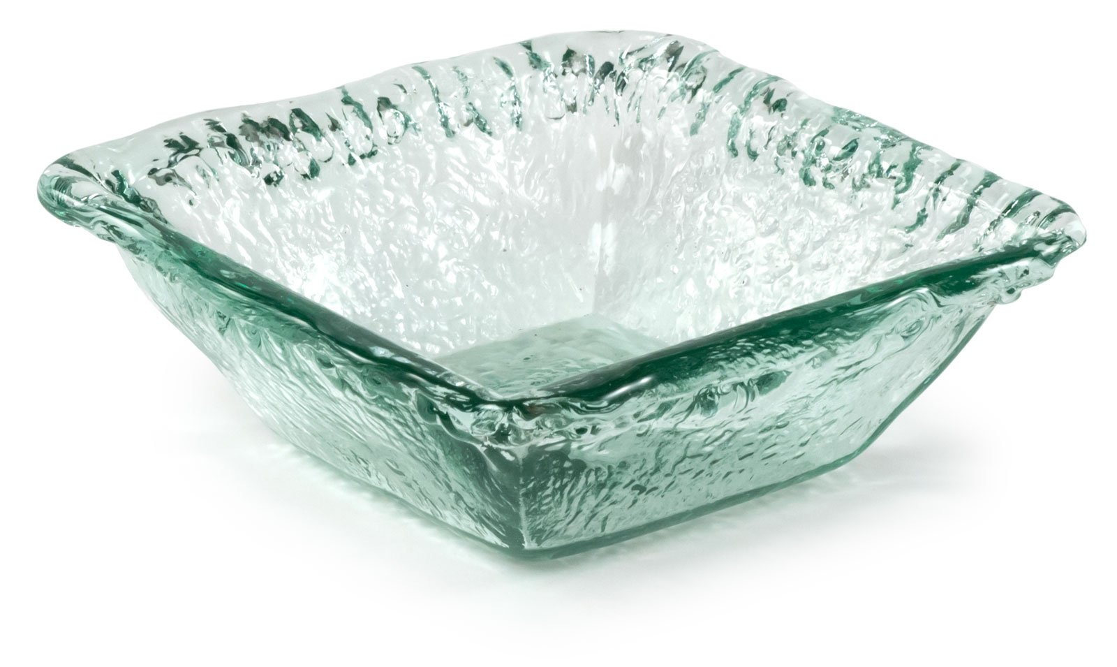 100% Recycled Glass Textured Sm Square Salad Bowl, Set of 2 - 6.5''Lx6.5''Wx2.25''H