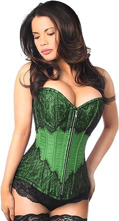 Daisy corsets Womens Plus Size Top Drawer Cotton Steel Boned Overbust Corset W//Zipper Green 2X