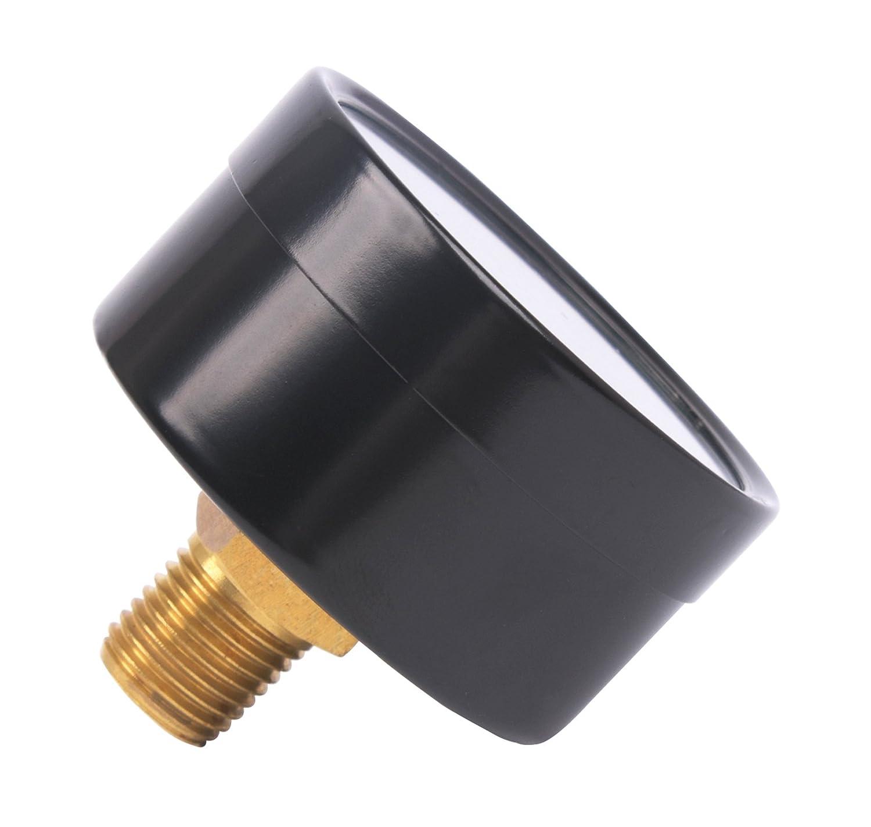 Multiple Function Accuracy: +//-2.0 Back Mount 1//4NPT 0+160 Psi//Bar 2 Black Steel Case Milson Pressure Gauge Brass Internal