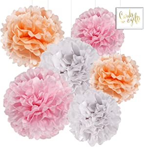 Andaz Press Hanging Tissue Paper Pom Poms Party Decor Trio Kit with Free Party Sign, Blush Pink, Peach, White, 6-Pack, for Spring Girl Baby Shower Nursery Easter Classroom Office Decorations
