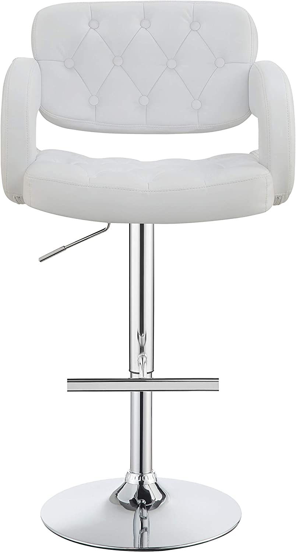 Coaster Co Adjustable Bar Stool 29 White And Chrome Furniture Decor