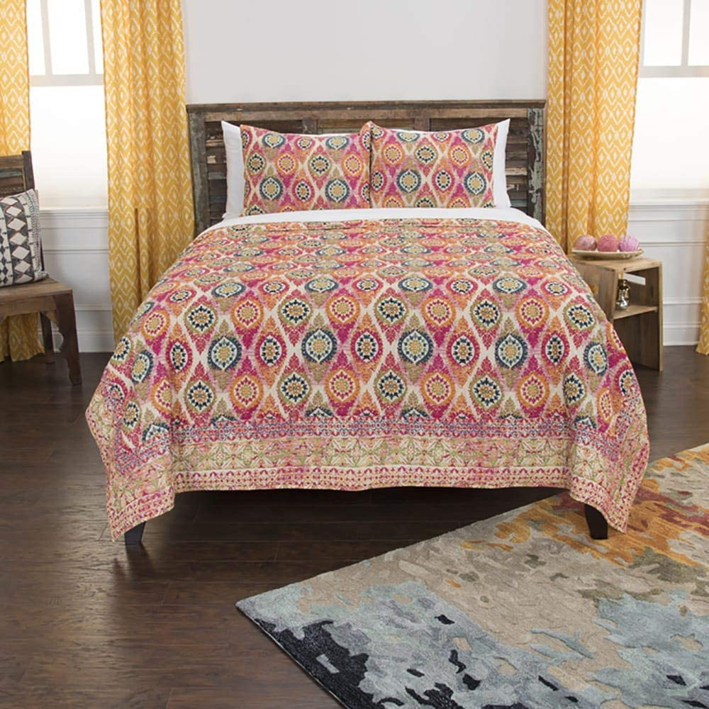 Rizzy Home Maddux Place 3 Piece Quilt Set, King, Serendipity-Pink