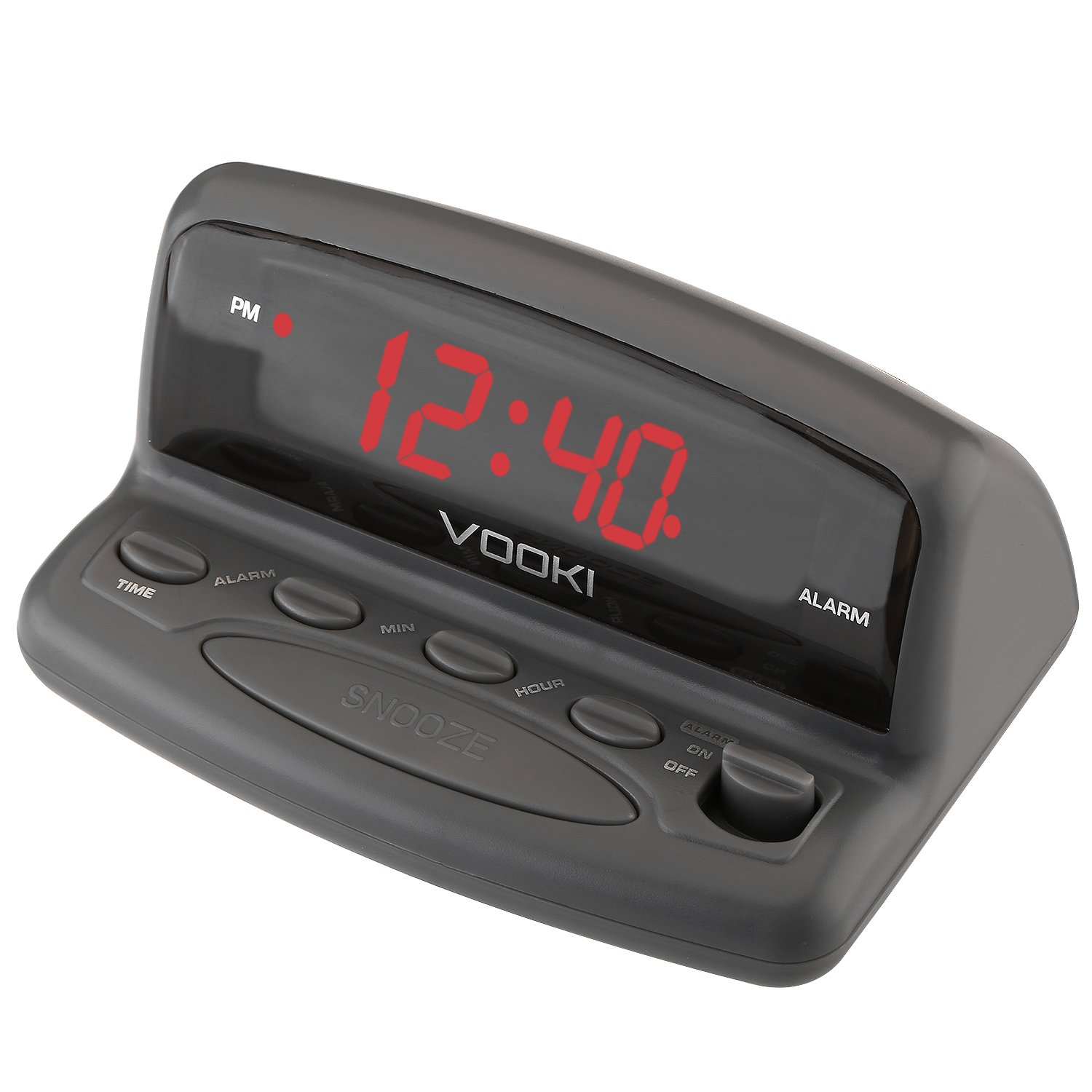 VOOKI LED Digital Alarm Clock - Outlet Powered, No Frills Simple Operation, Alarm, Snooze, 0.6'' Clear Red Digit Display With 9V Battery Backup, Gray