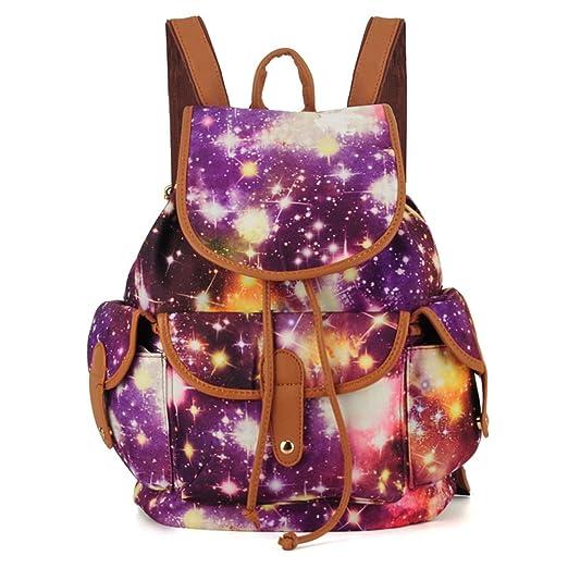 Fashion Printed TrendyMax Galaxy Pattern School Backpack Cute for Girls (Purple)