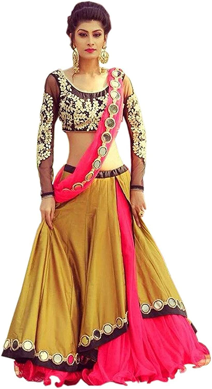 Buy Vkaran Women S Silk Lehenga Choli Lg021 Yellow Free At Amazon In