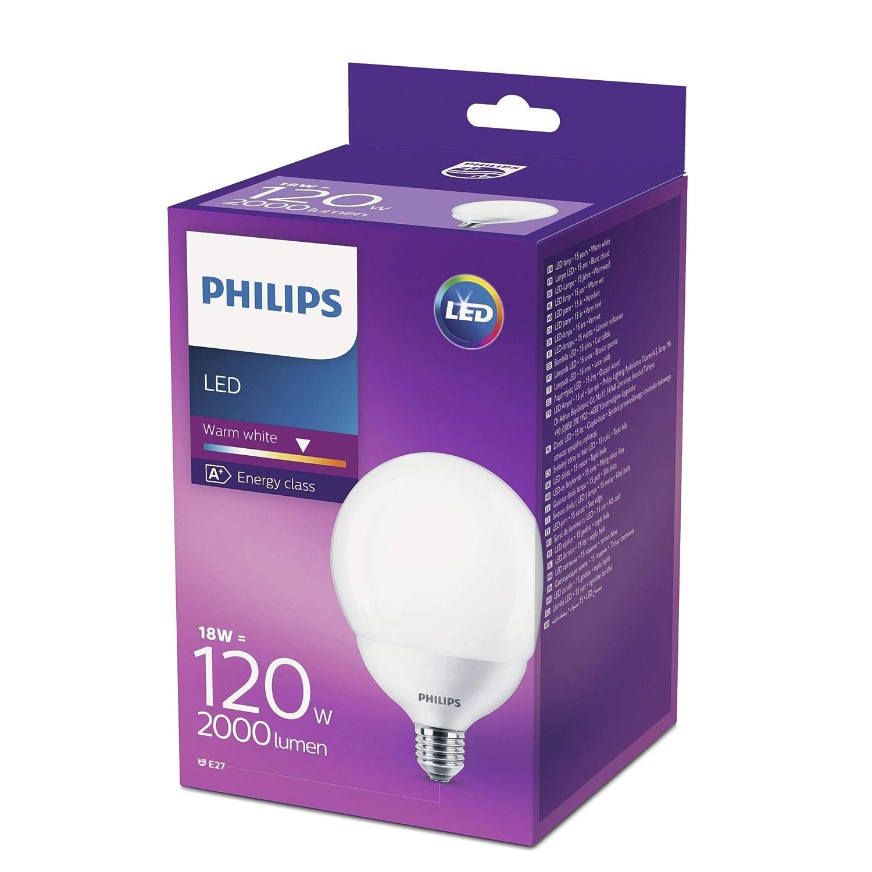 Philips LED bombilla forma globo, consumo de 18W equivalente a 120 W de una bombilla incandescente, casquillo gordo E27 luz blanca cálida: Amazon.es: ...