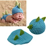 LERORO Newborn Crochet Knitted Outfit Dinosaur Hat/Pants Photography Props Costume Set (0-12 Months