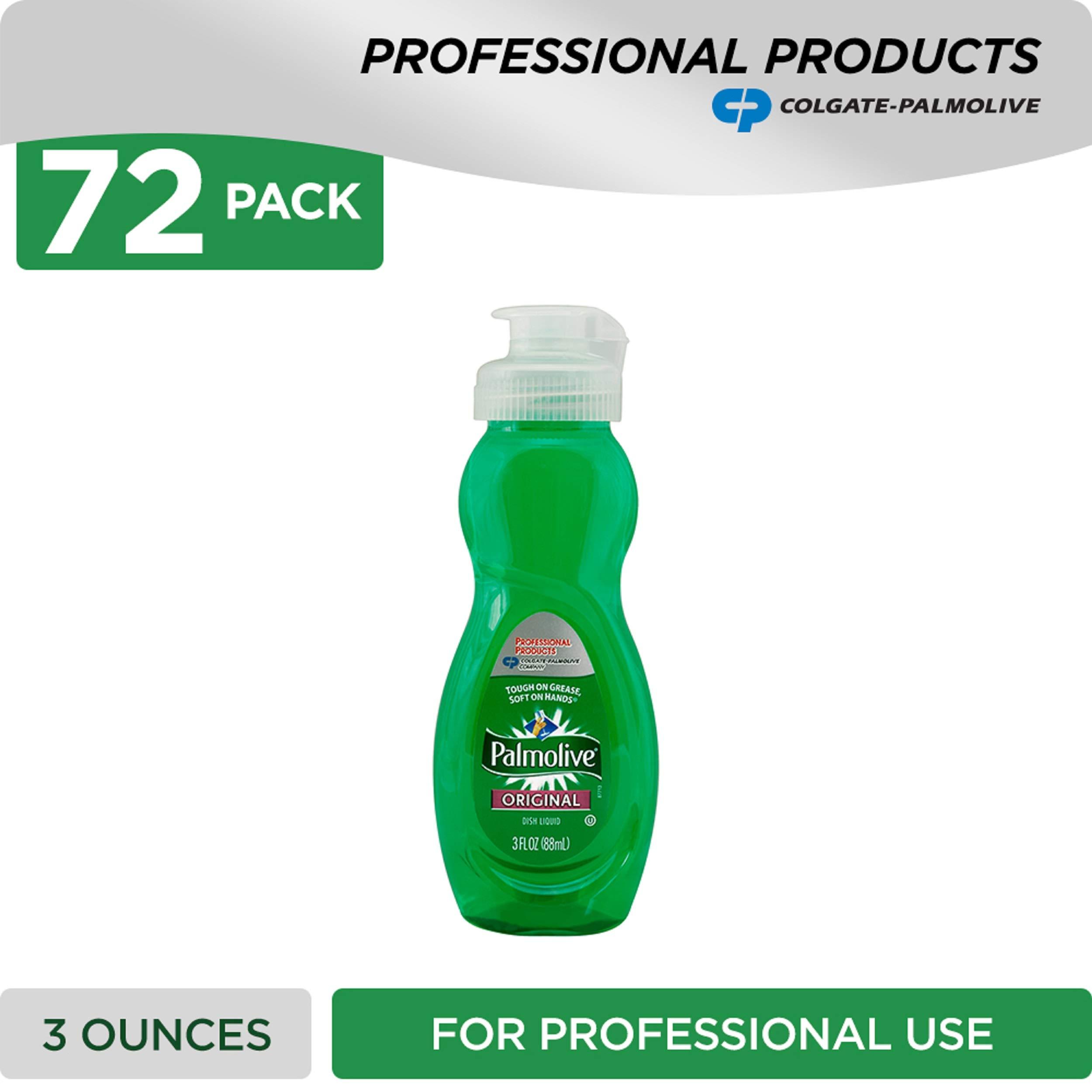 PALMOLIVE Dishwashing Liquid, Dish Liquid Soap, Dish Soap, Phosphate Free, pH Balanced, Dishwasher Cleaner, 3 Ounce Bottle (Case of 72) (201417)