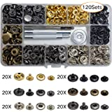INNETOC 120 Sets 6 Color Leather Snap Fasteners Kit with 4 Installation Tools, Leather Rapid Rivet Button Leather Snaps for DIY. (6 Color, 12.5mm)