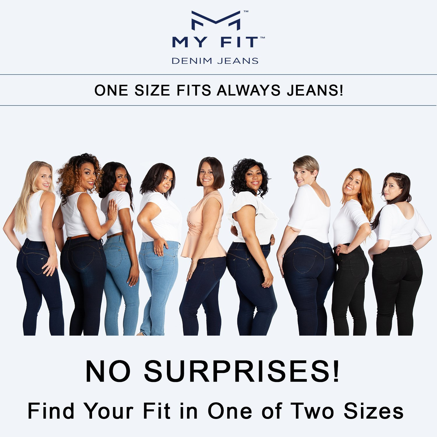 My Fit Jeans SIZE 14-20 LIGHT WASH Womens Stretch Denim Jeans with Pockets and the Comfort of Leggings Petite through Plus Size