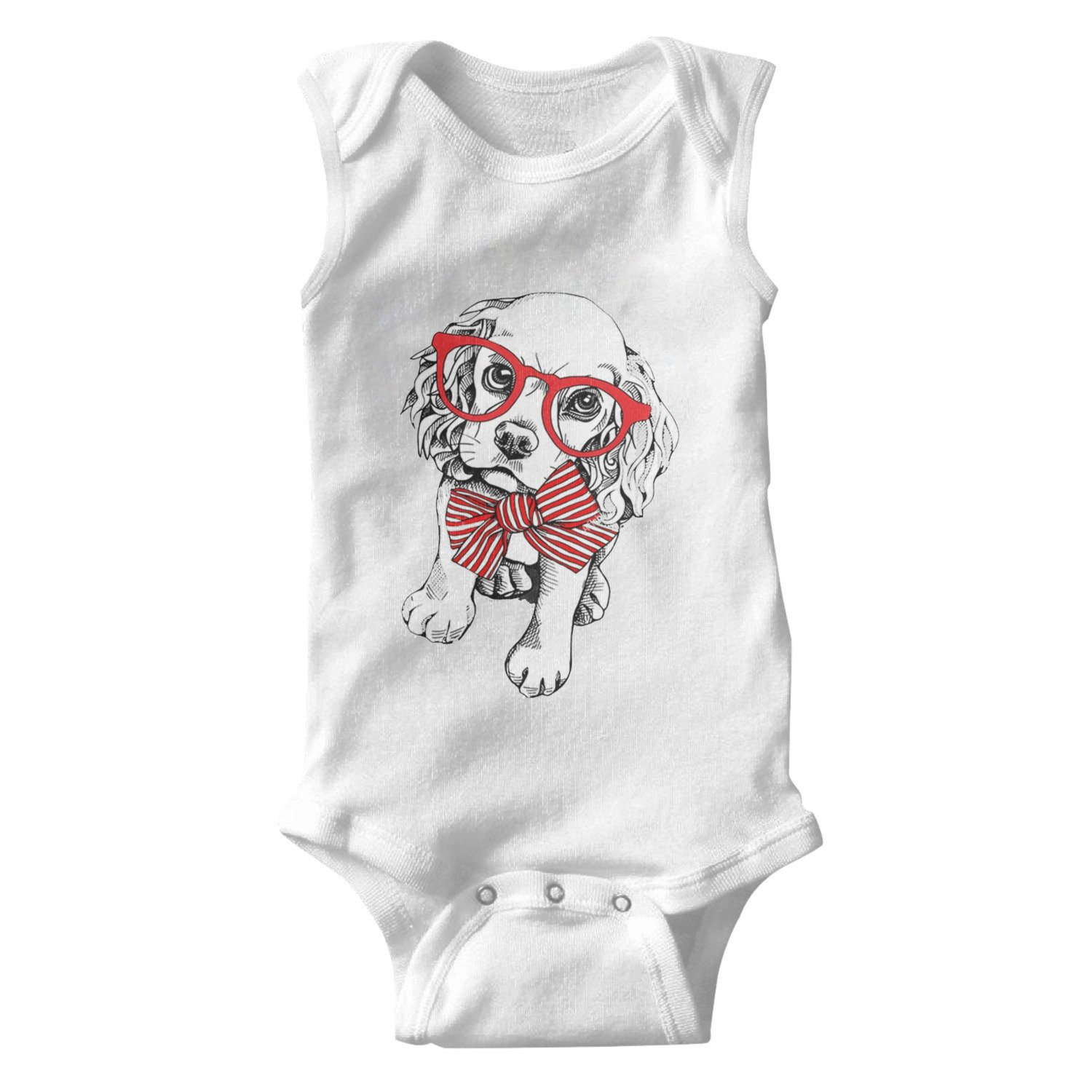 Puppy Cockers Paniel in A Red Striped Bow with Glasses Unisex Baby Cotton Sleeveless Toddler Clothes Baby Onesies White