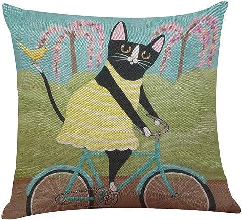 Leewos Fundas de cojín, lindo gato bicicleta funda de almohada bonita pintura animal funda de cojín lino decoración del hogar almohada antideslizante: Amazon.es: Hogar