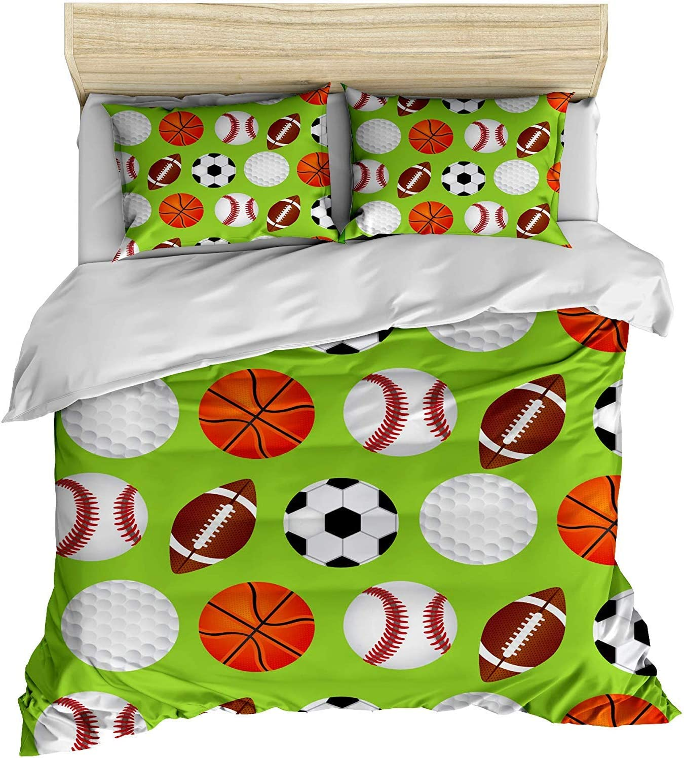 """Zimmer Excellent Sports Football Basketball Cotton Microfiber 3pc 90""""x79"""" Bedding Quilt Duvet Cover Sets 2 Pillow Cases Full Size"""