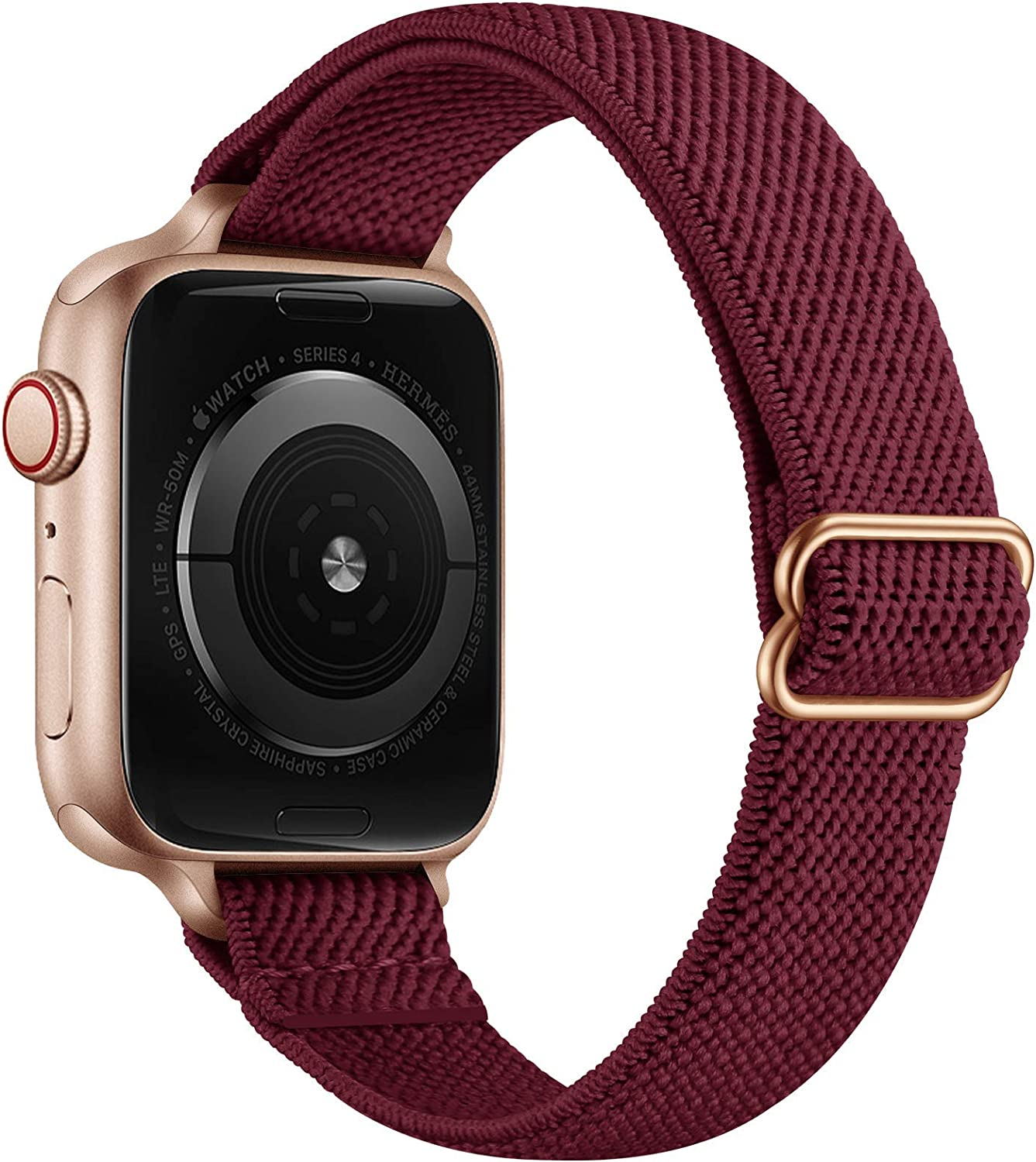 SICCIDEN Slim Stretchy Solo Loop Bands Compatible with Apple Watch Band 40mm 38mm 44mm 42mm, Women Elastics Nylon Thin Band Strap for iWatch SE Series 6 5 4 3 2 1 (Wine Red/Rose Gold, 40mm 38mm)