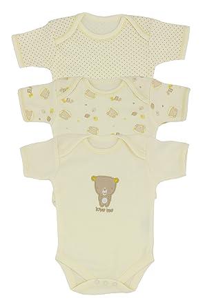 9211336eb Nursery Time 3 Pack Teddy Bear Short Sleeved Baby Vests: Amazon.co.uk:  Clothing