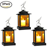 Decorative Candle Lanterns, Set of 3 Indoor and Outdoor Black Lanterns with LED Pillar Moving Wick Flameless Candles, 5 Hours Timer