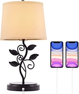 CO-Z Rustic Table Lamp with USB Ports, USB Table Lamp with Metal Leaves, Traditional Desk Lamp with USB Charging Port, Leaf Lamp for Bedside End Table Bedroom Living Room Nightstand, Bronze Finish
