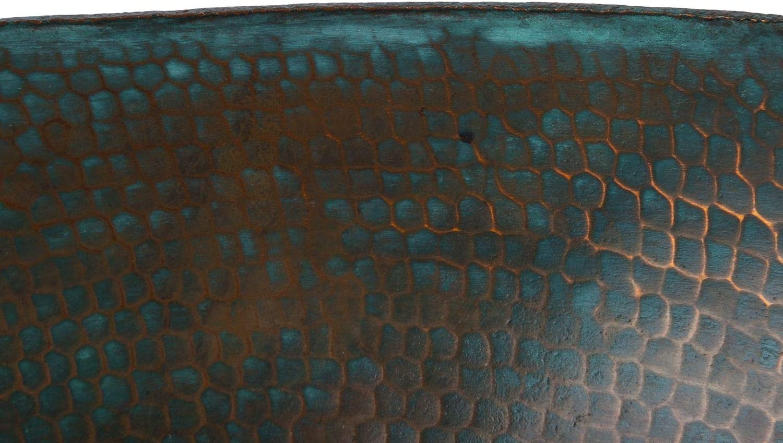 Bassin en cuivre turquoise patin/é de 49 cm x 39 cm lavabo encastr/é du Mexique Cerames Picaflor /évier en cuivre pur martel/é /à la main