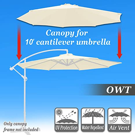 Strong Camel Replacement Cantilever Hanging Umbrella Canopy for 10ft 8 Ribs  in (Canopy Only) (Off-White)