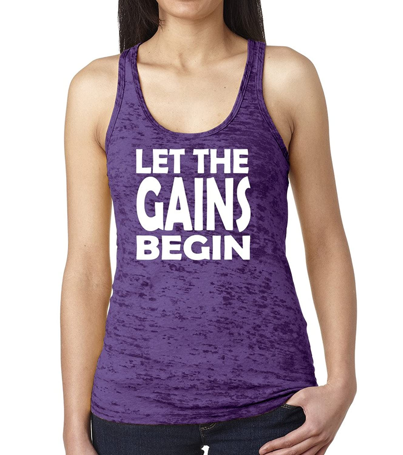Sexy Girl Rock Let the Gains Begin Burnout Racerback Gym Tank Top Fitness Tee