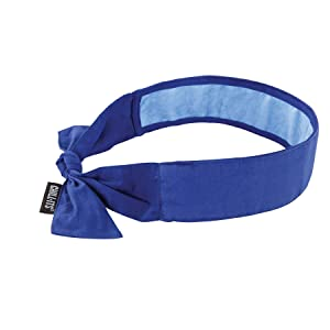 Cooling Bandana, Blue, Lined with Evaporative PVA Material for Fast Cooling Relief, Tie for Adjustable Fit, Ergodyne 6700CT