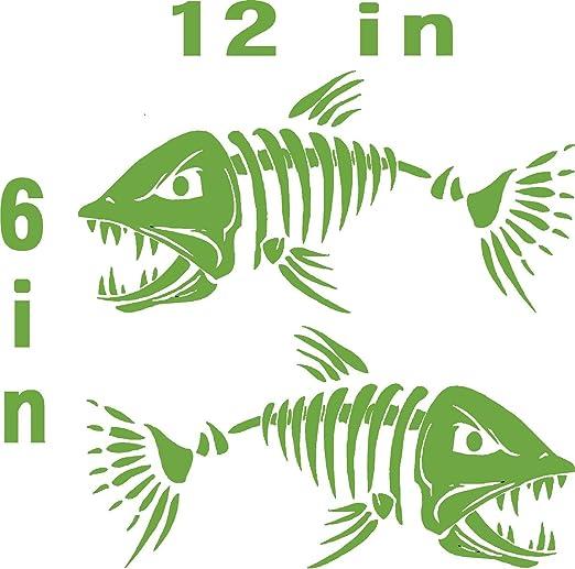 Green Skeleton Decal Fish Bone Sticker