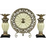 D'Lusso Designs Juliana Collection Four Piece Charger, Stand And Two Candlestick Set