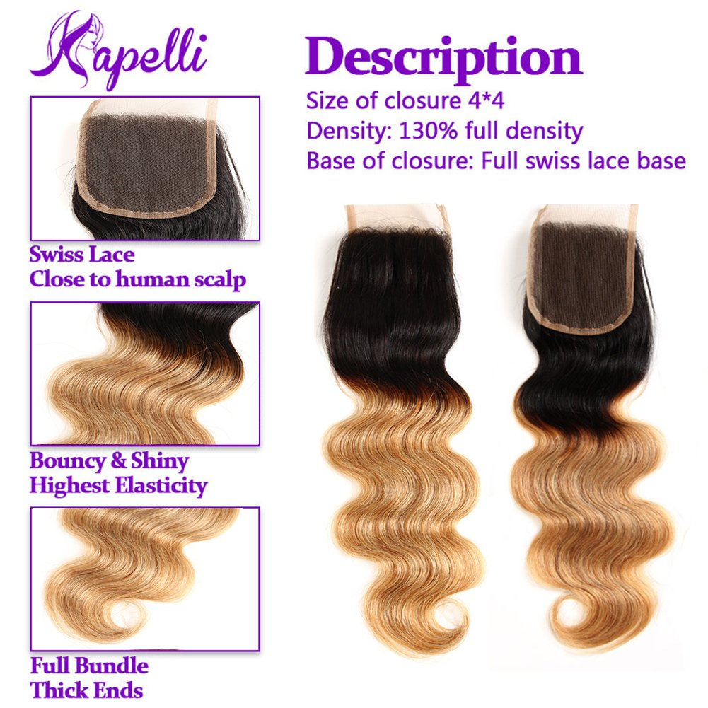 Ombre Brazilian Hair 3 Bundles With Closure, Ombre Human Hair Body Wave 3pcs With Lace Closure (20 22 24+18, #T1B/27) by Kapelli Hair (Image #6)