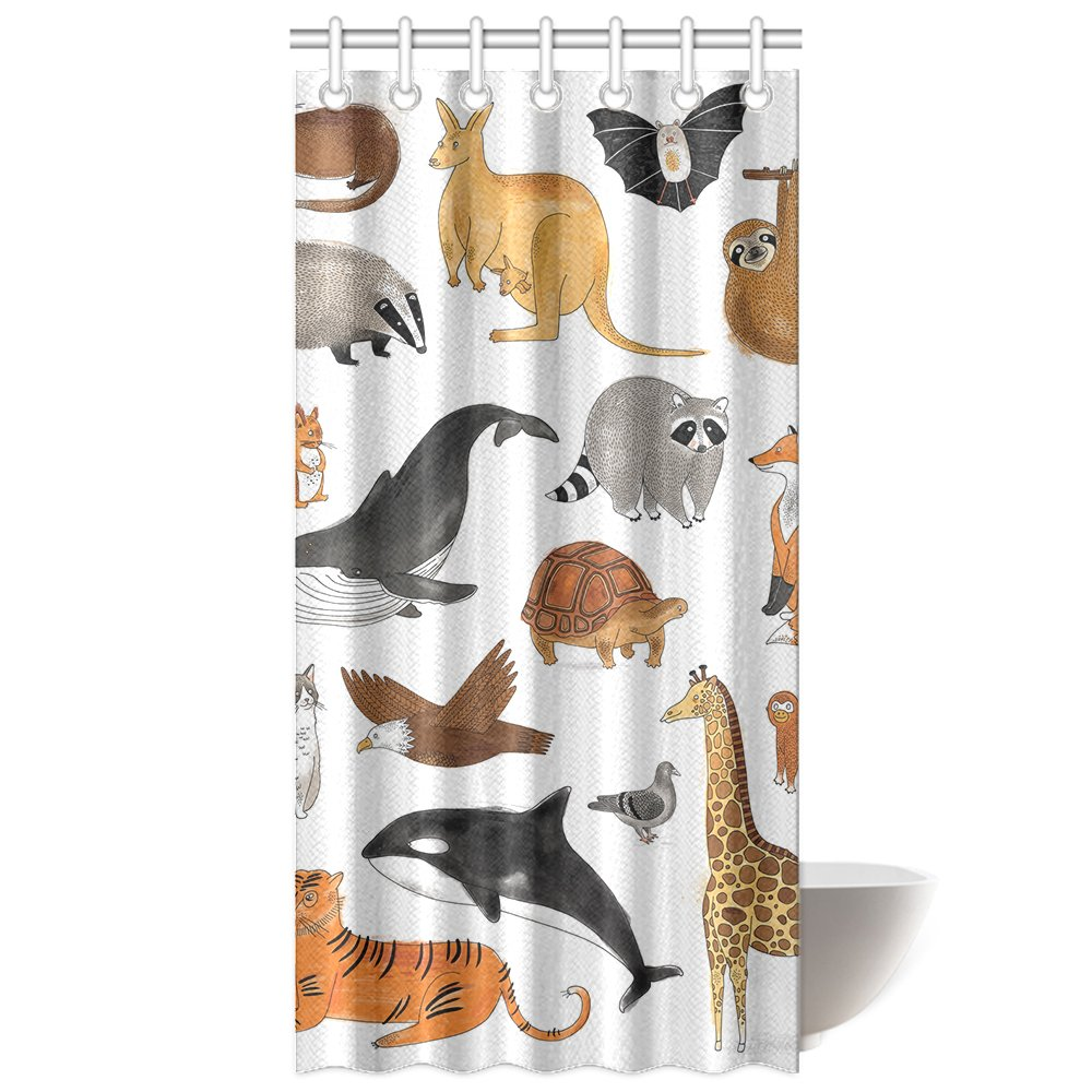 CTIGERS Shower Curtain for Kids Cute Carttoon Animals Whale Giraffe Turtle Kangaroo Polyester Fabric Bathroom Decoration 36 x 72 Inch