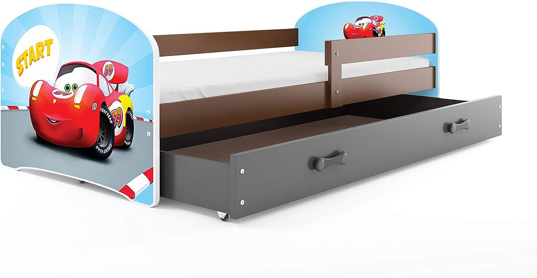 Interbeds Cama Individual LUKI - Gris,160X80, con cajón, somier y colchón de Espuma Gratis! (Coche)