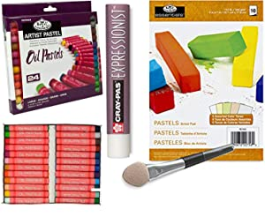 Oil Pastel Kit - 25 colors with Pastel Paper Pad & Applicator smudger with clear blender / Extender set