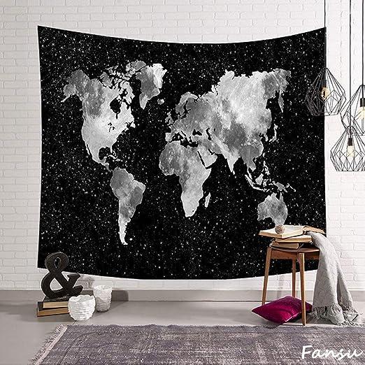 Fansu Tapiz de Pared Grande Mapa del Mundo Rectangular, artistico tapices Colgante hogar decoración Sala de Estar diseño psicodélico póster (S-150 * 130CM,Negro): Amazon.es: Hogar