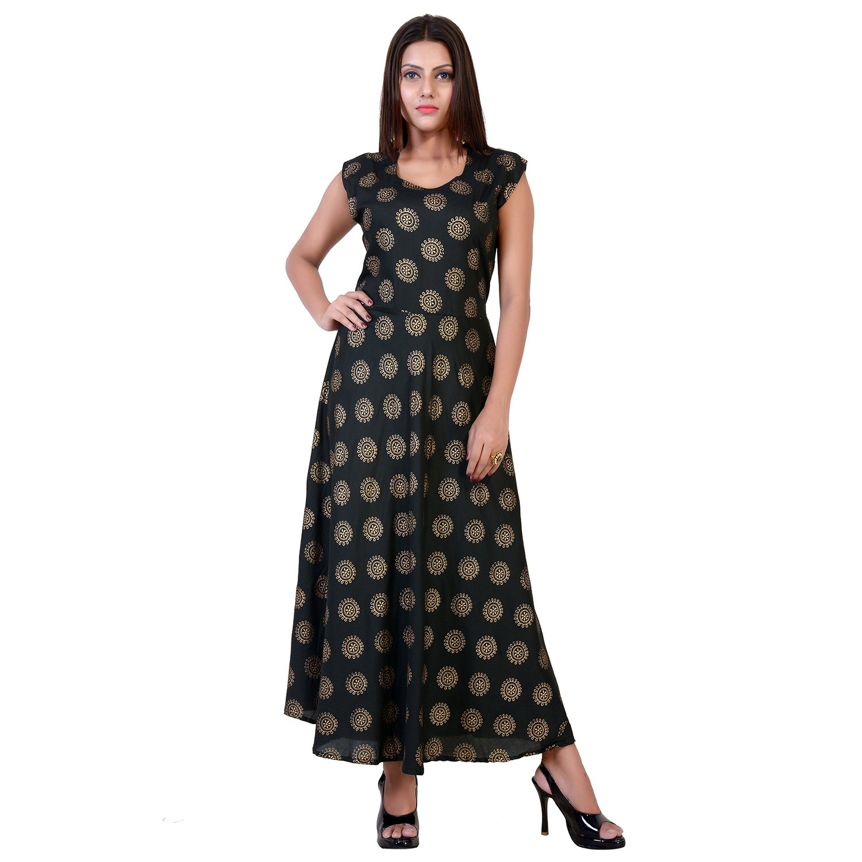 c8fb5023404 fabcolors Women s Rayon Gold Print Long One Piece Dress (Free Size ...