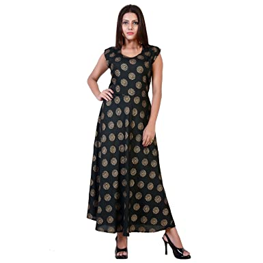 fabcolors Women s Rayon Gold Print Long One Piece Dress (Free Size ... 2ce7893b3