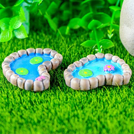 bismarckbeer Kit de jardín de Hadas, 2 Piezas de Miniatura Lotus Pond, Manualidades de Resina, casa de muñecas, Adorno de jardín de Hadas: Amazon.es: Hogar