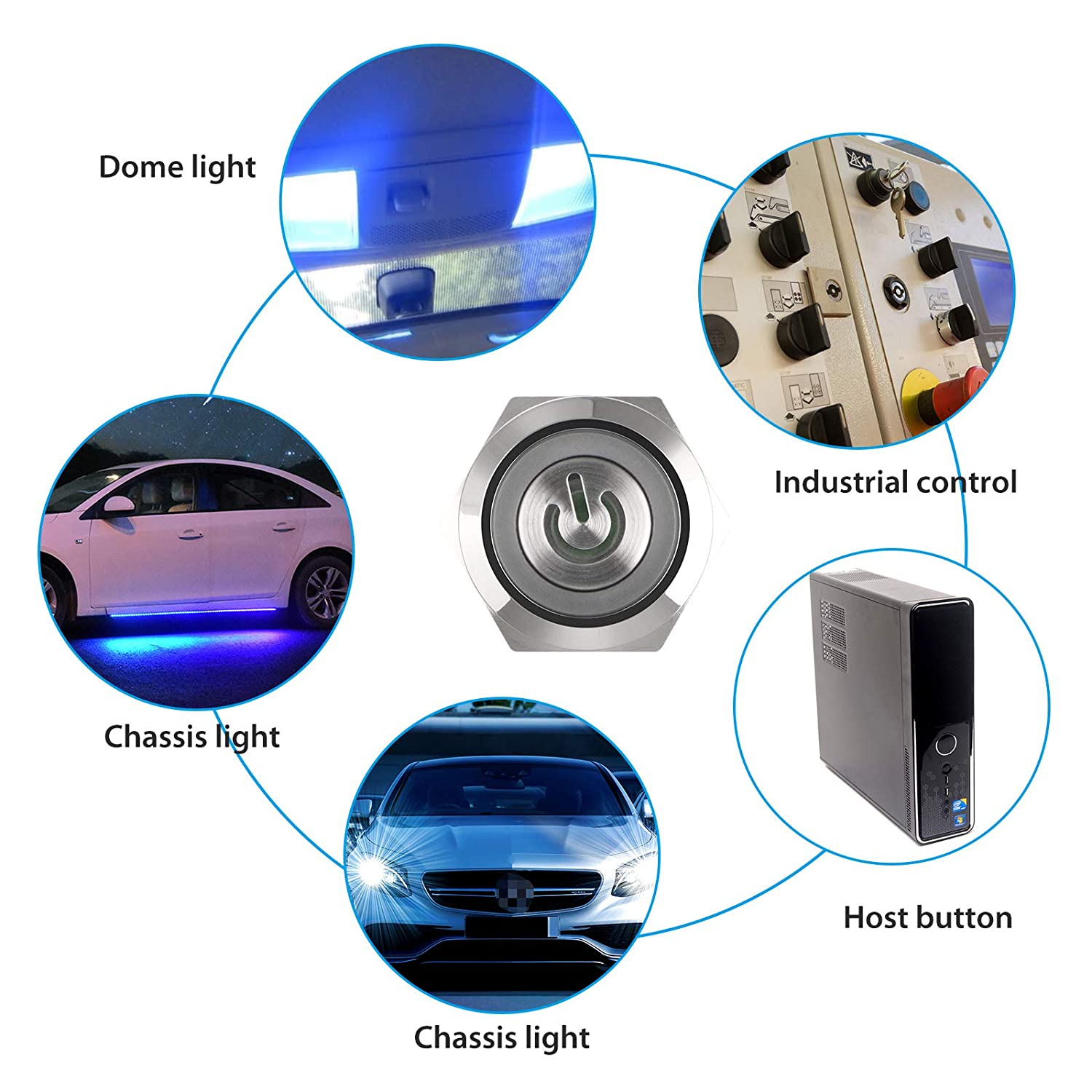 5Pin 12V LED Lighted SPDT ON-Off Car Push Button Switch with Wire Socket Plug for 19mm 3//4 Mounting Hole EEEKit Car Push Button Latching Switch