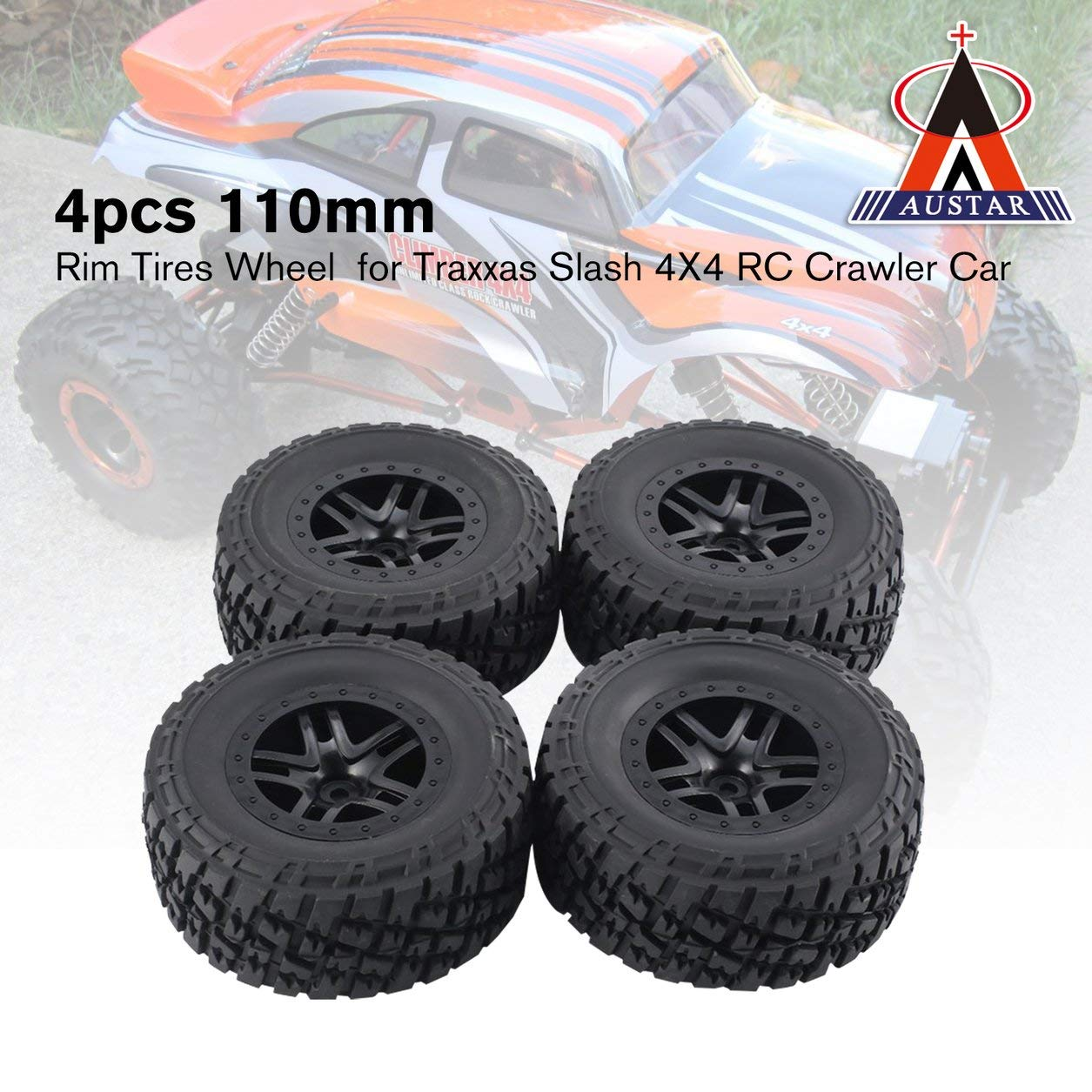 Dailyinshop Neumáticos 4pcs AUSTAR 110 mm del Borde de Goma de la Rueda de la Raya Vertical Traxxas RC 4X4 orugas de Coches: Amazon.es: Juguetes y juegos