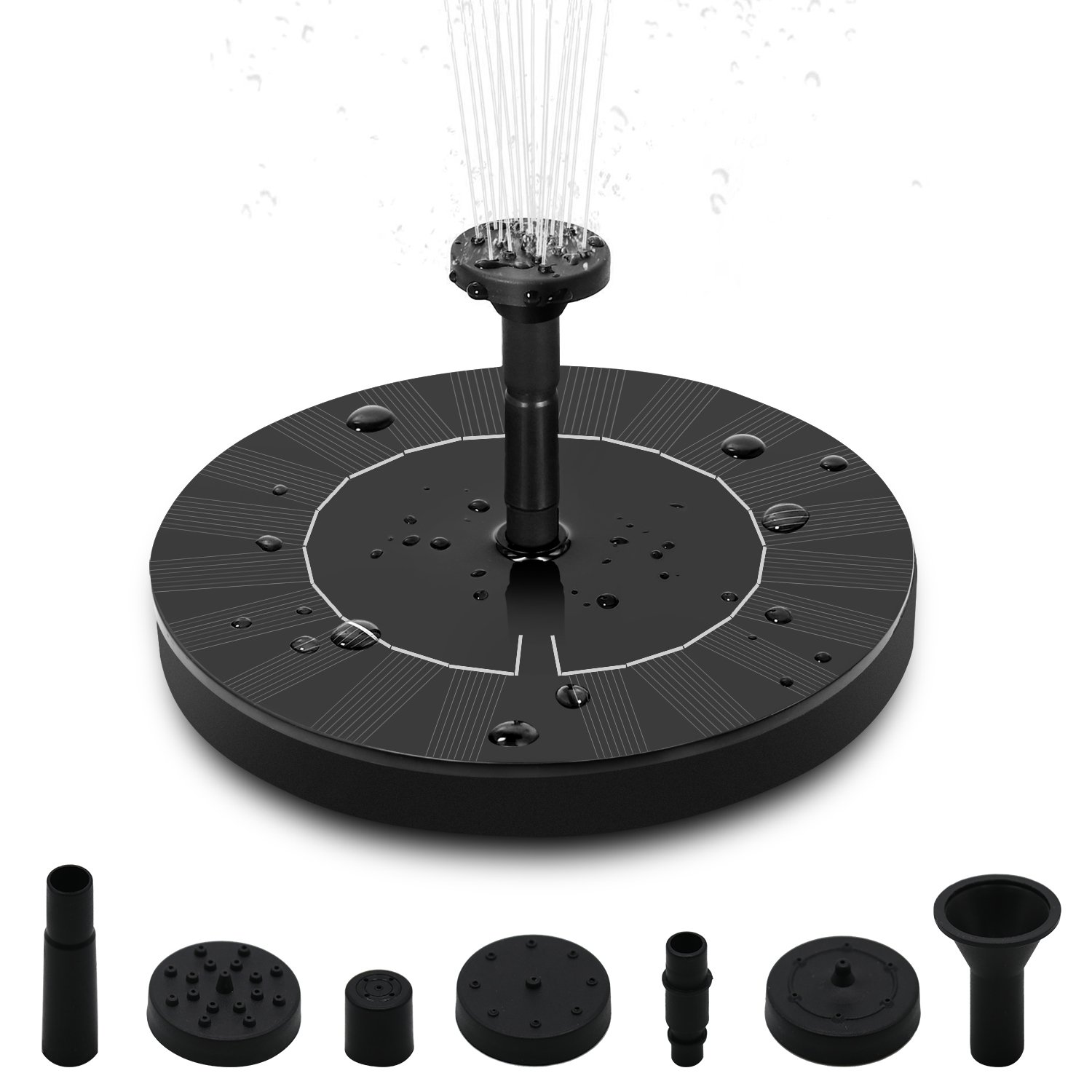 CINOTON Solar Fountain, Solar Powered Bird Bath Pump 1.4W Floating Solar Panel Fountain Water Pumps Kit Outdoor Birdbath Water Fountain Pump for Pond, Pool, Patio and Garden Decoration (with Battery)