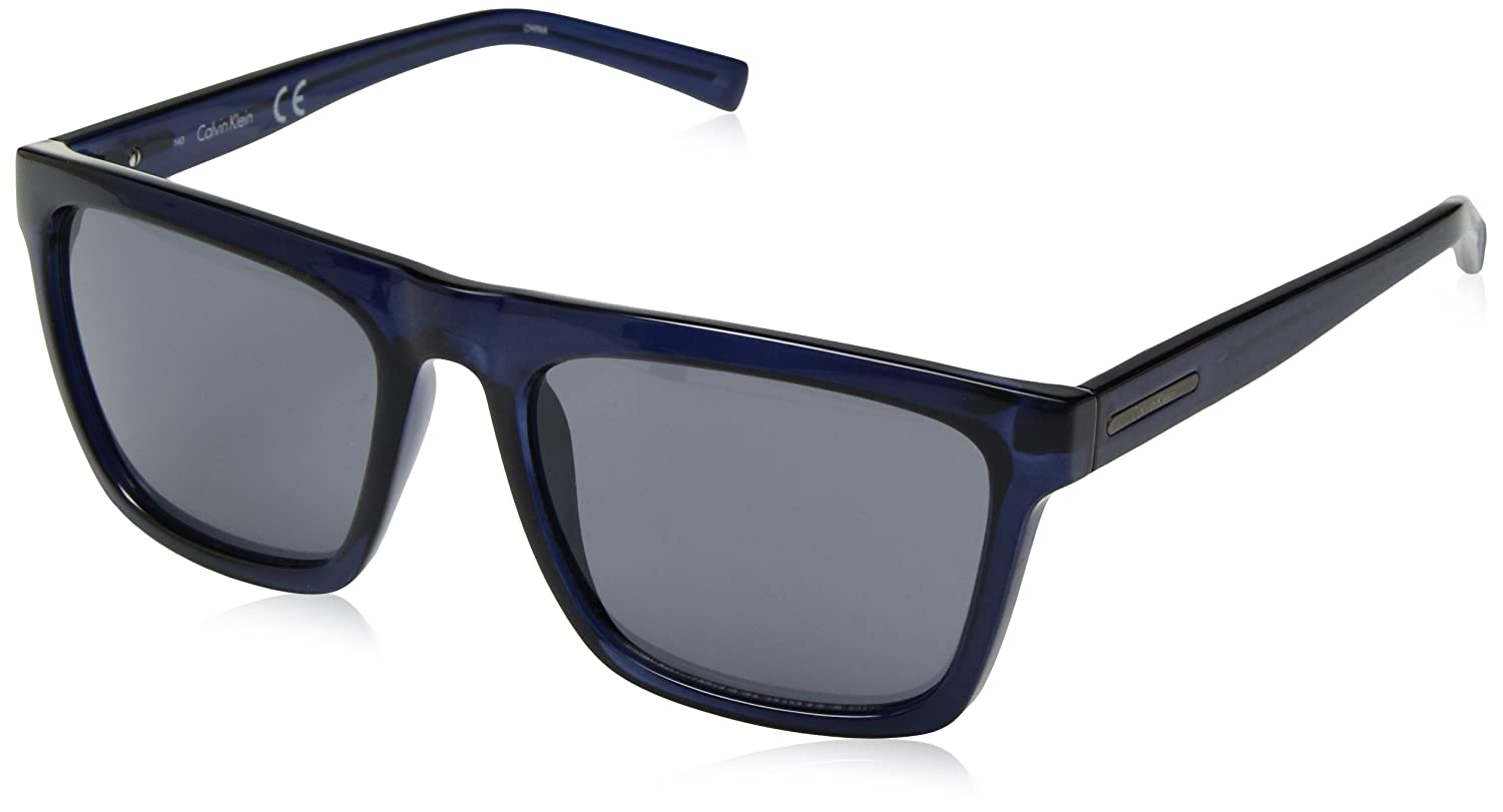 a1b1844399 Amazon.com  Calvin Klein Men s R737s Square Sunglasses Crystal Navy 57 mm   Clothing