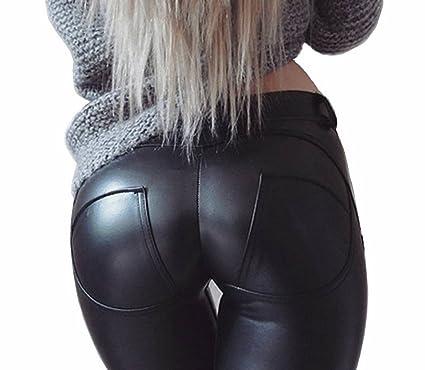 d7fc6100b8 HOAOU Faux Leather PU Elastic Shaping Hip Push Up Pants Black Sexy Leggings  for Women Black