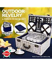 6-Person Picnic Basket Cooler Bag Wicker PU Leather Fastening Straps Plates Cups