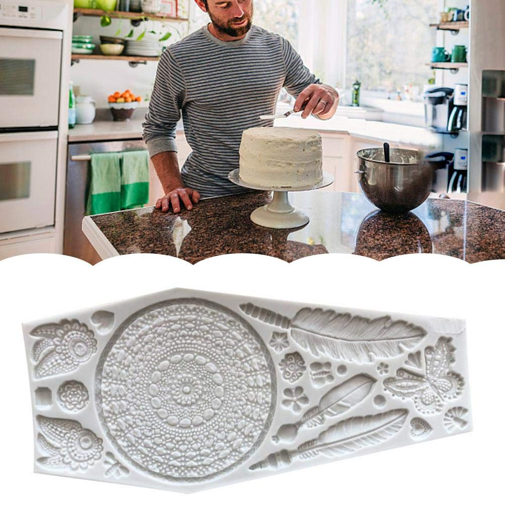 Wapern Acchiappasogni Torta Decorazione 3D Grandi Piume Silicone Mold Fondant Mold DIY Cake Decorating Tool Candy Chocolate Mold