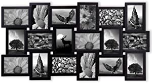 Jerry & Maggie - Photo Frame 17x33 Long Rectangle Picture Frame Selfie Gallery Collage Wall Hanging for 6x4 Photo - 18 Photo Sockets - Wall Mounting Design (Black | 18 Pieces Gallery)