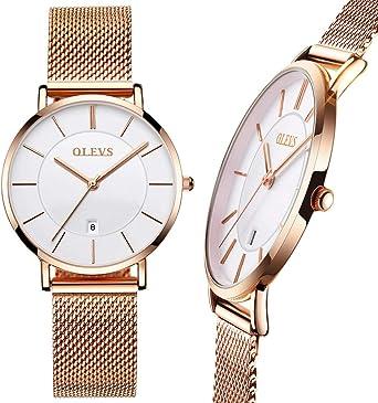 Amazon.com: Reloj de malla de oro rosa/negro para mujer ...